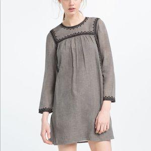 Zara Trafaluc Gray Black Embroidered Tunic Dress M